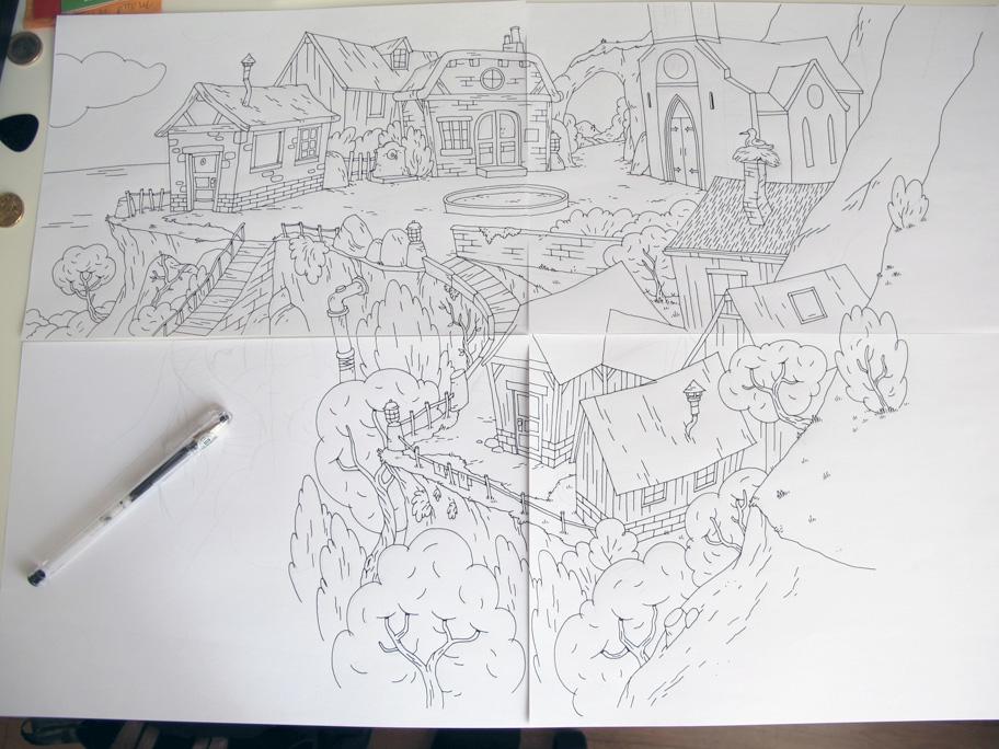 village-dessin